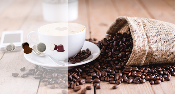 Coffee types: coffee beans, ground coffee, coffee pods, coffee capsules