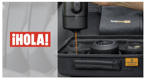 A car espresso maker in Thalia's car!